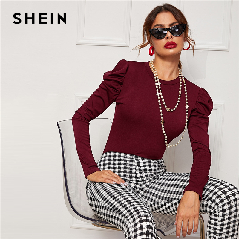 SHEIN Solid Round Neck Slim Fitted Elegant T-Shirt Women Tees 2019 Autumn Puff Sleeve Office Ladies Basic Skinny T-shirts