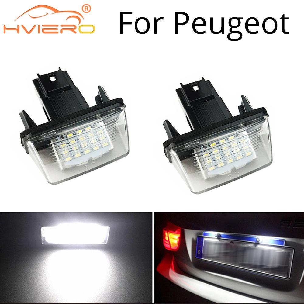 2X Car LED License Plate Light For PEUGEOT 18SMD No Error Free Light Auto Bulb 206 207 306 307 406 407 For CITROEN C3 C4 C5 12V