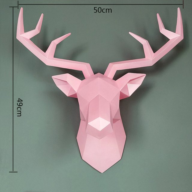 Big Deer Statue Sculpture Home Decor 50x49x20cm Hanging Wall Decoration Accessories Living Room Decor Elk Abstract Sculpture 5