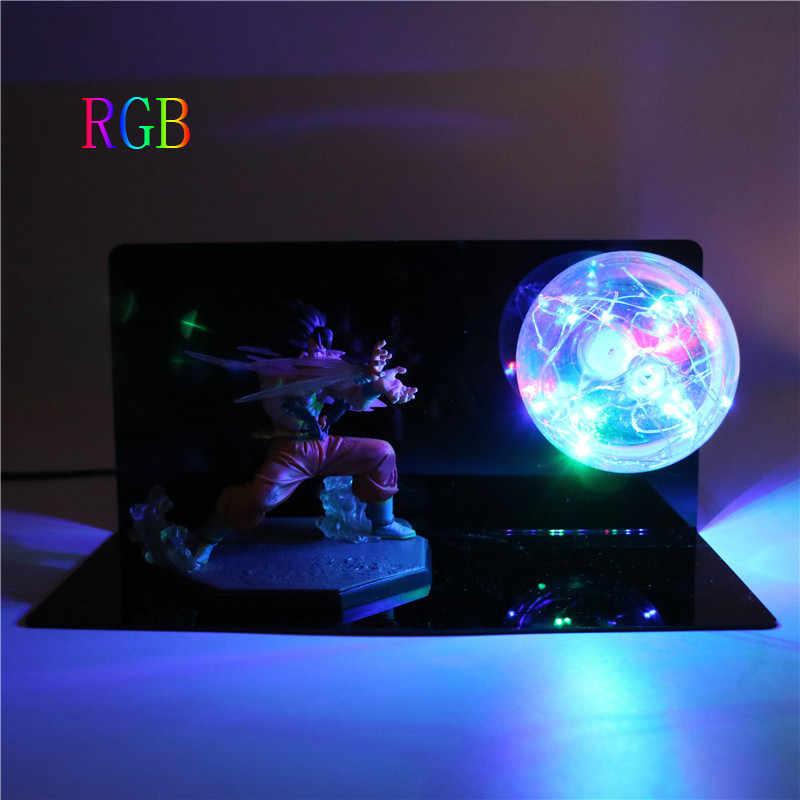 Dragon ball z figuras de ação son goku kaiouken kamehameha anime diy luz da noite led dragonball z estatueta collectible modelo brinquedos