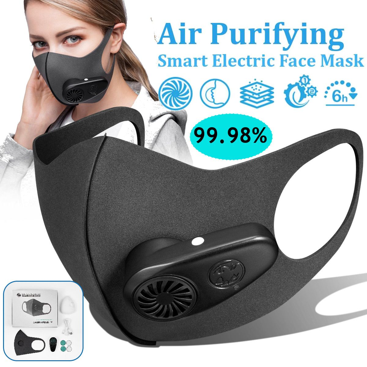 N95 Smart Electric Face Mask Air Purifying Anti Dust Pollution Fresh Air Supply Pm2.5 With Breathing Valve 5 Replaceable Filter