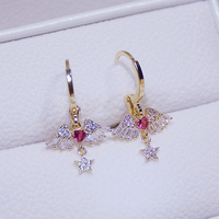 Pendientes de gota de agua con forma de corazón de Ángel para mujer, joyería de lujo de diseñador superior, Micro incrustaciones de circonita AAA, regalo de aguja S925 de alta calidad