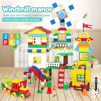 253PCS Windmill House Train Village Building Blocks LegoINGly Duplo City Figures Big Size Brick DIY Toys For Children Gift