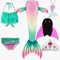 Girls Mermaid Tails Bra Shorts Monofin Swimsuit Cosplay Dress Kids Children Mermaid Tail Clothing Swimming Wear Flipper Costume