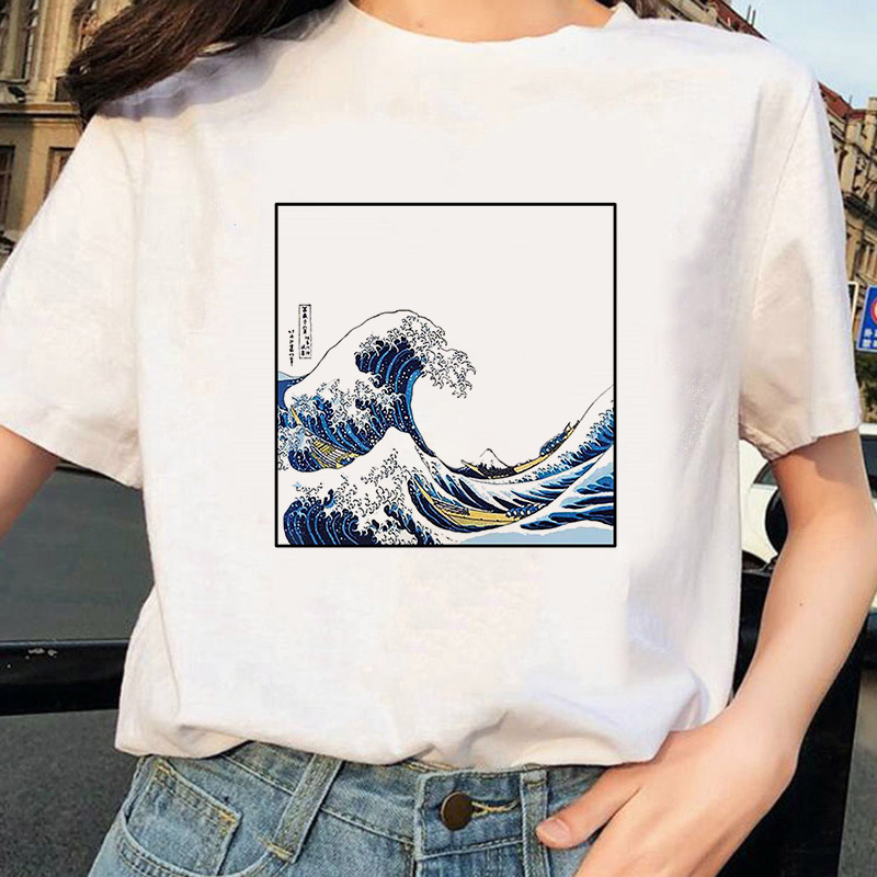 2020 The Great Wave of Aesthetic T-Shirt Women Tumblr 90s And So It Is Ocean Fashion Graphic Tee Cute Summer Tops Casual T Shirt