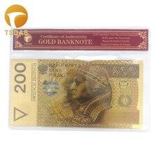 Польские банкноты 200 NBP золотые банкноты в 24k позолоченные с COA рамкой для бизнес-коллекции