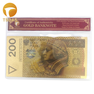 Poland Banknotes 200 NBP Gold Banknote In 24k Gold Plated with COA Frame for Business Collection