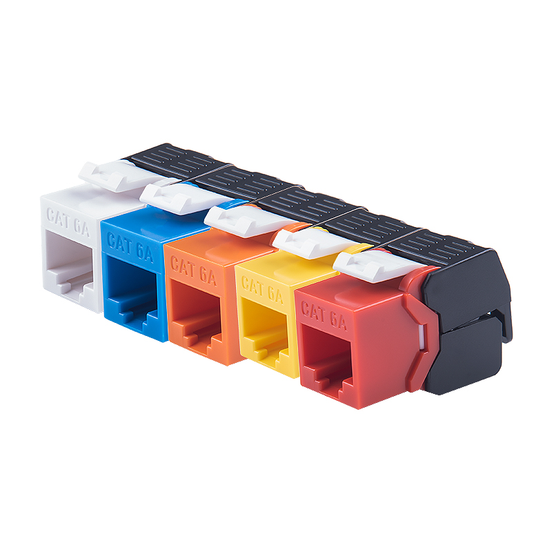10G Ethernet RJ45 CAT6A Colorful Keystone Jacks Toolless Type Network Modules Tool-free Connection 7 Colors For Optional
