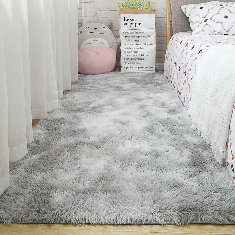 Living Room Carpet Bedroom Bedside Mat Simple Modern Gray Household Floor Rug Soft Skin-friendly Multi-zone Use Blanket