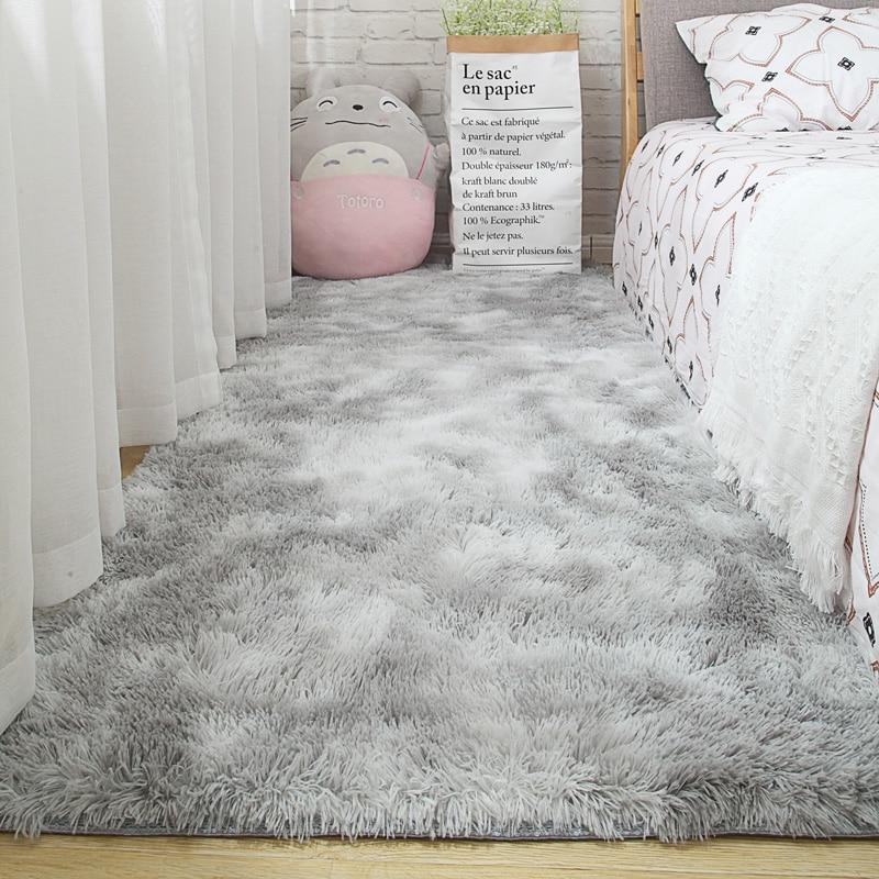 Living Room Carpet Bedroom Bedside Mat Simple Modern Gray Household Floor Rug Soft Skin-friendly Multi-zone Use Blanket