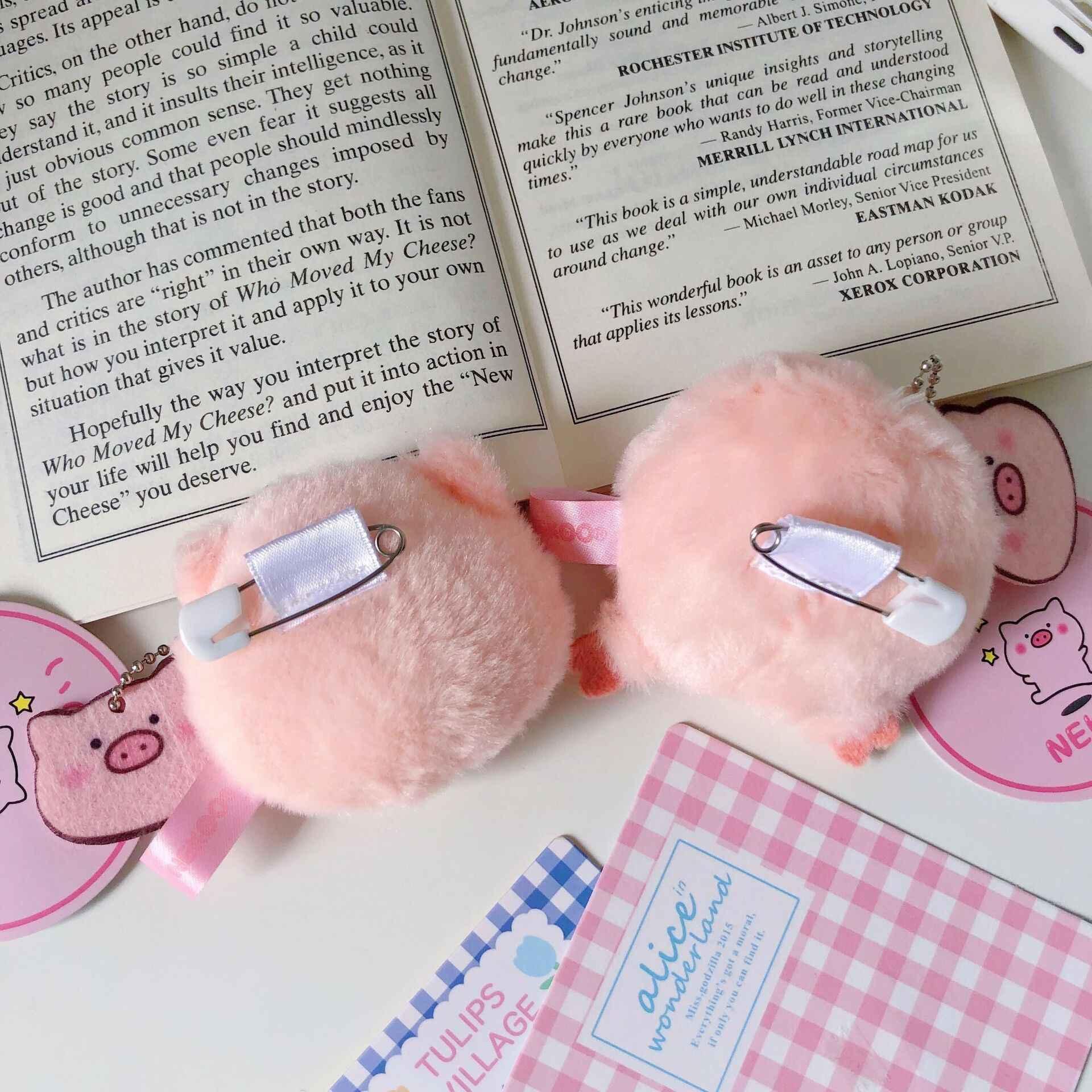 Bentoy Porco Cor De Rosa de Pelúcia Macia acessórios bolsa de Moedas Bonito Saco Estudante Kawaii Acessórios Coréia Ins Crianças anel Chave Broche