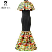 Shenbolen African Dresses For Women New Fashion Elegant Dress Ankara Printing Wax Fabric Beautiful cape