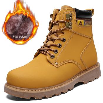 Męskie buty z prawdziwej skóry gumowe Martin buty męskie buty zimowe zasznurować ciepłe pluszowe buty na zimę człowiek botki buty męskie tanie i dobre opinie DEleventh Podstawowe CN (pochodzenie) Skóra bydlęca ANKLE Stałe Plush Futro Okrągły nosek RUBBER Zima Mieszkanie (≤1cm)