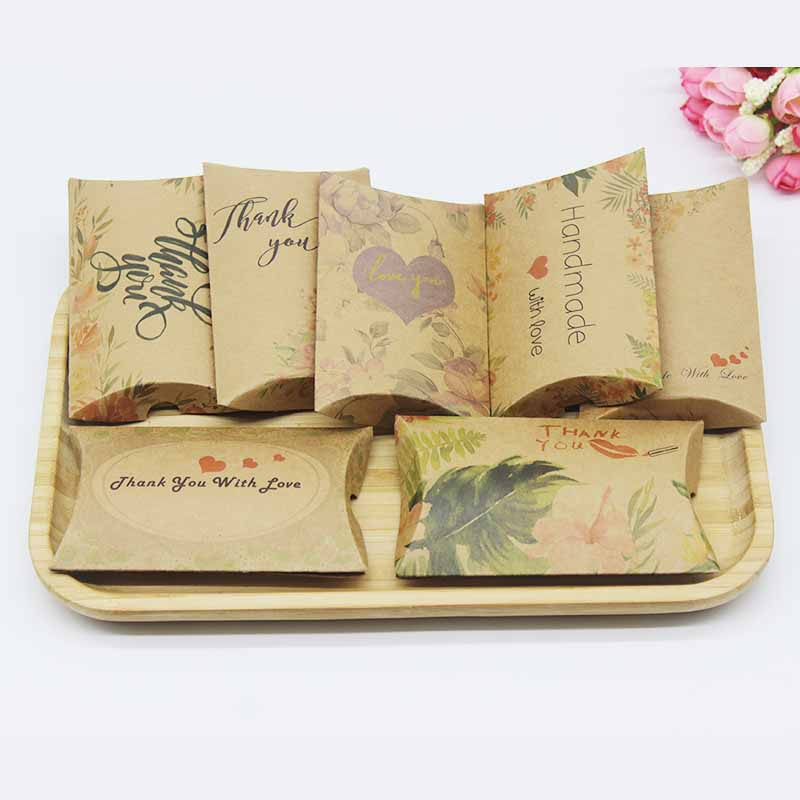 DIY Handmade 50box+50necklace Earring Card Jewelry Package Box Original Designs Thank You Flower Pattern Gift Box Pillow Box