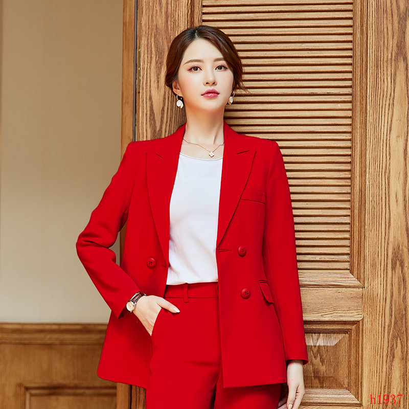 Fashion Women Blazer and Jackets Red Blazer Ladies Business Clothes Double Breasted Female Elegant Formal Office Work Wear OL