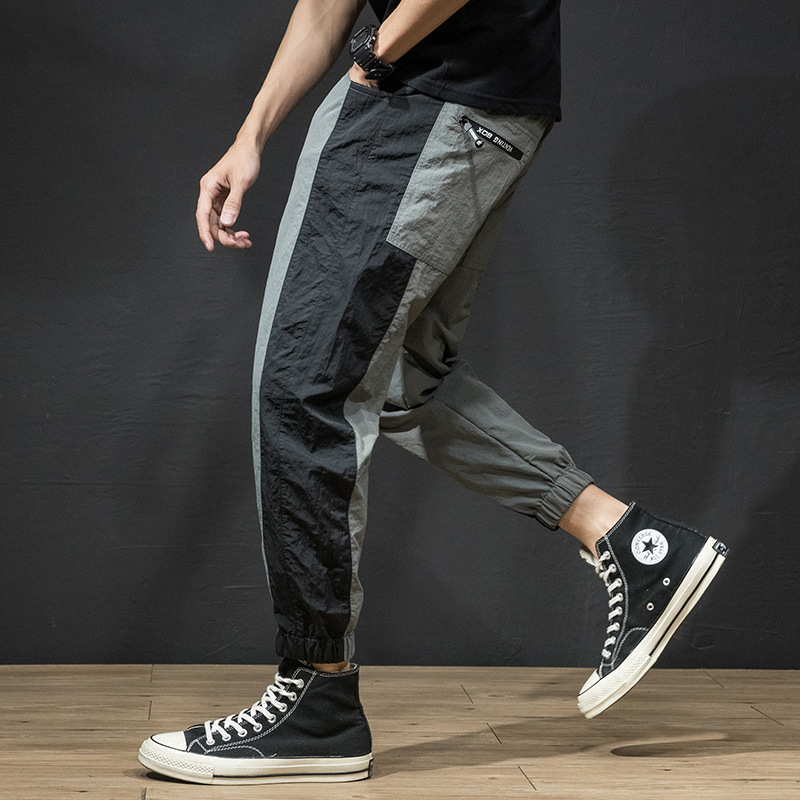 Four Seasons Paragraph Men Stitching Casual Capri Pants Loose Elastic Waistband Handsome Versatile Hip Hop Casual Long Pants