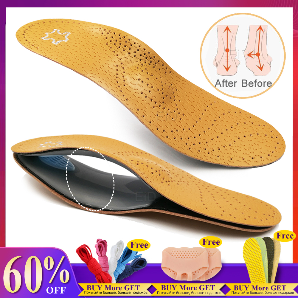 EiD Leather orthotic insole for Flat Feet Arch Support orthopedic shoes sole Insoles for feet men women O/X Leg corrected Uni