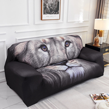 Slipcover Lion Printing Furniture Stretch Couch Arm Cushion Cover Spandex Printed Polyester Home Decoration Sofa Cover D30 stretch couch slipcover brown polyester rib knit fabric