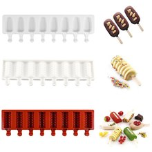цена на 8 Cavities Silicone Ice Cream Molds Ice Lolly Moulds Ice Cream Maker Bar Molds Summer Homemade DIY Kitchen Ice Cube Molds