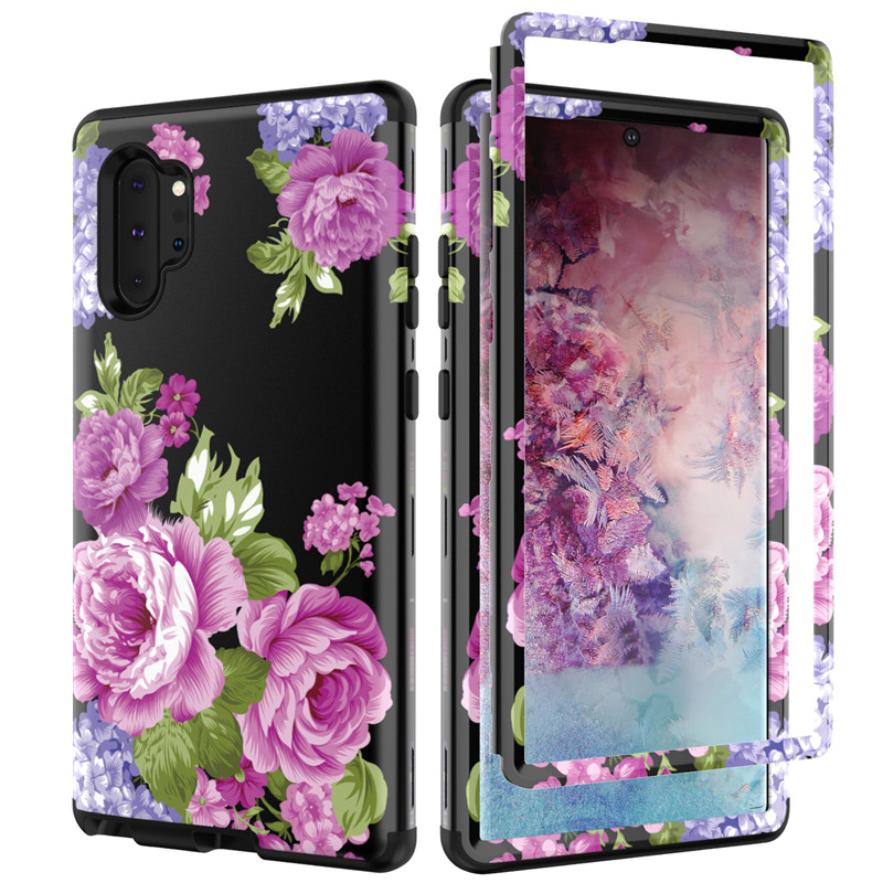 Front&Back 360 Degree Full Body Protective Case For Samsung note10 Plus Marble Flower Glitter PU Silicon Shockproof Hybrid Armor image