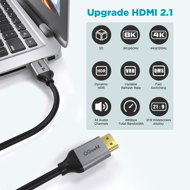 QGeeM 8K HDMI Cable HDMI 2.1 Wire for Xiaomi Xbox Serries X PS5 PS4 Chromebook Laptops 120Hz HDMI Splitter Digital Cable Cord 4K