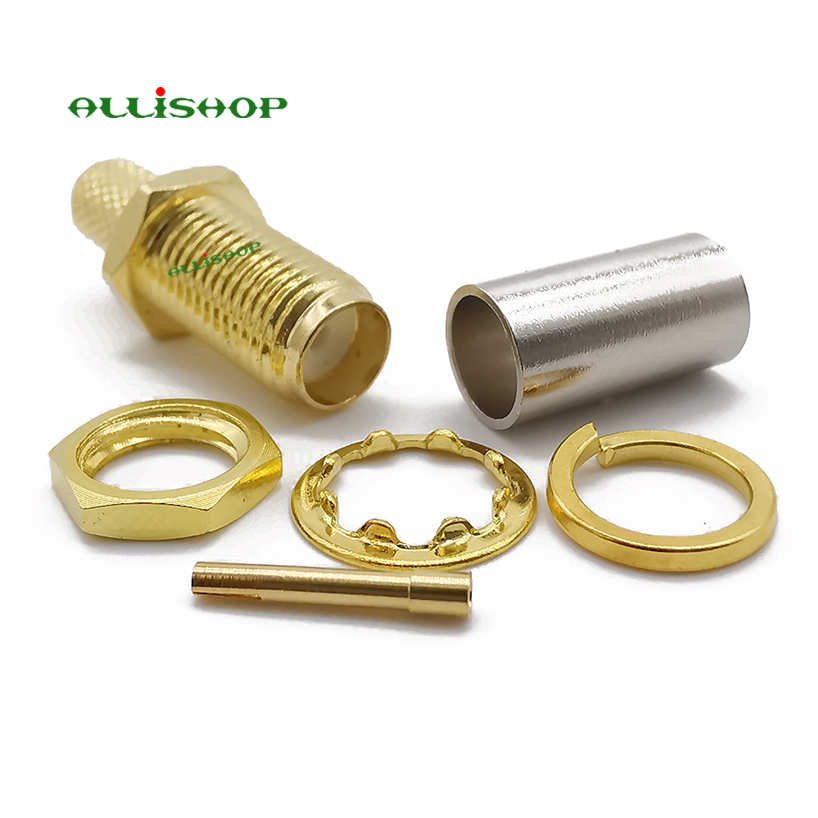 ALLiSHOP 10Pcs <font><b>SMA</b></font> female socket jack gold plated brass <font><b>50</b></font> ohms standard RF coaxial <font><b>SMA</b></font> for RG-58 LMR-195 RG142 RG400 connector image