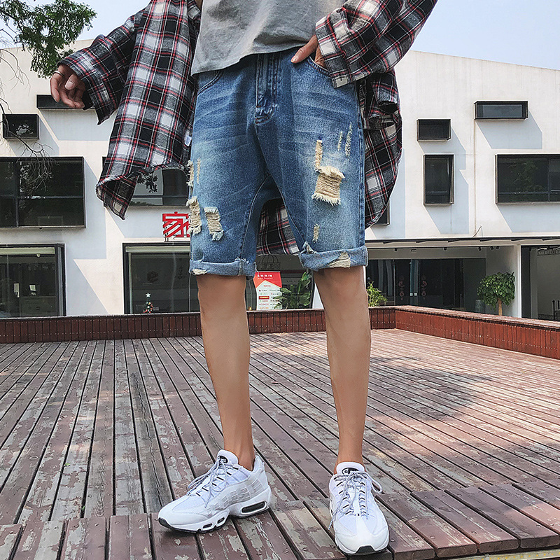 Summer Men With Holes Denim Shorts Korean-style Trend Loose Thin Fifth Pants Men's C1124