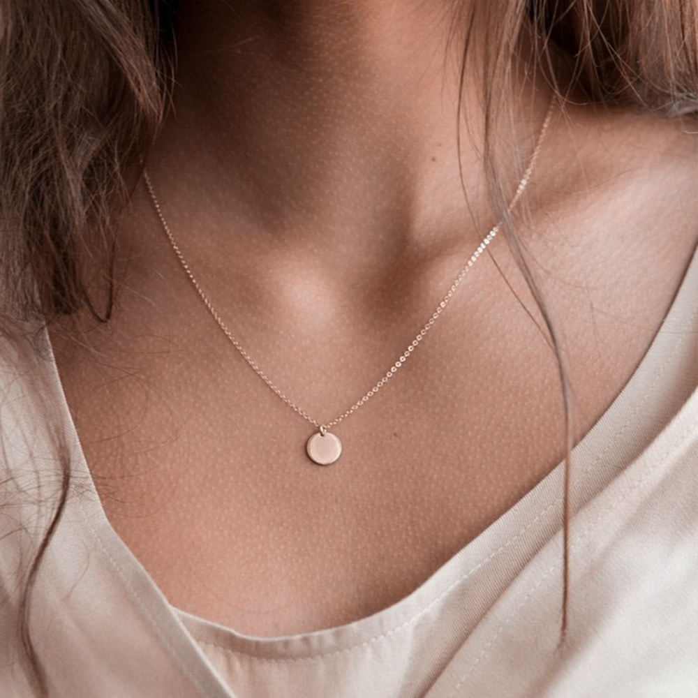 Visunion 316L Stainless Steel Necklace Temperament Wafer Circle Round Pendant Top Quality Necklace Jewelry for Women Wholesale