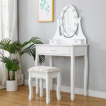 Mesa de tocador con espejo LED y taburete de maquillaje, mueble de dormitorio, HWC