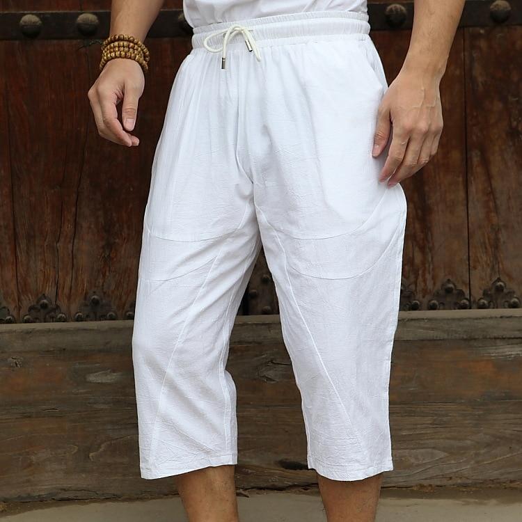 Linen Short Men 3/4 Length Knee Cotton Large Size 5xl High Waist Plus Size 6XL Bermuda Shorts Male Long Men's Summer Breeches