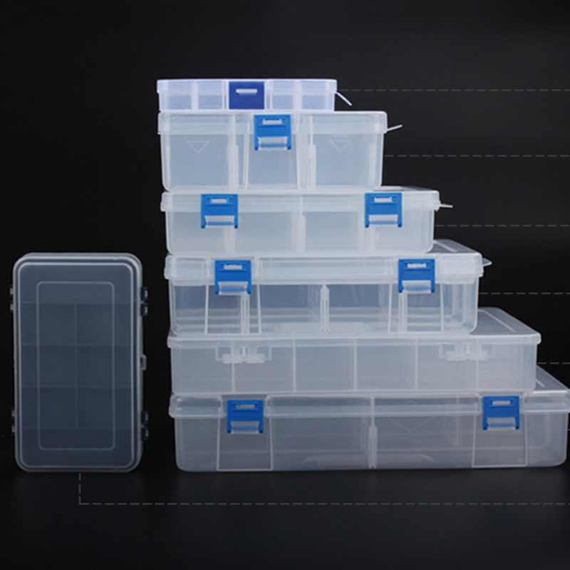 Novo 7 tamanho nuts bits células caixa de ferramentas jóias portátil recipiente anel eletrônico broca parafuso grânulos armazenamento componente toolkit