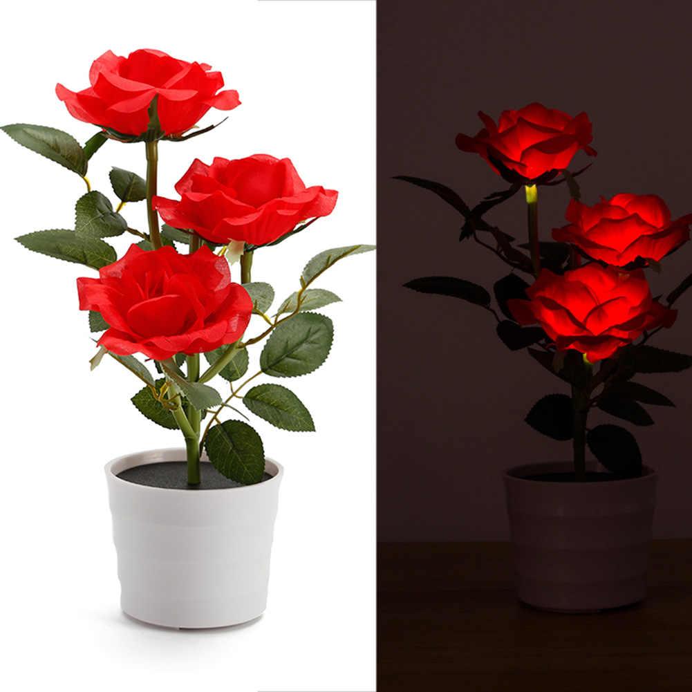 Роза на солнечной энергии балкон домашний цветочный горшок декоративный Газон Led прикроватный Искусственный завод спальня сад настольная лампа
