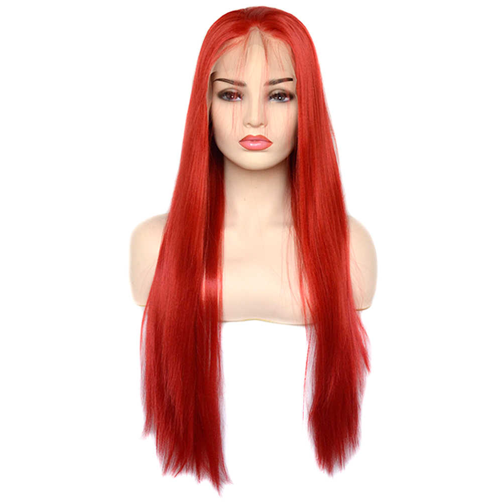 Vogue Queen 13 × 6 Orange Merah Perpisahan Sintetis Renda Depan Wig Panjang Lurus untuk Harian Wareing