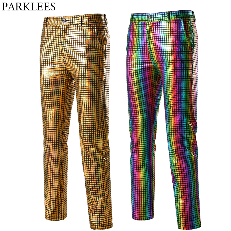 Shiny Gold Sequin Plaid Trousers Men Disco Nightclub Stage Prom Bling Pants Male Christmas Party Studio Dancer Singer Costume 3X