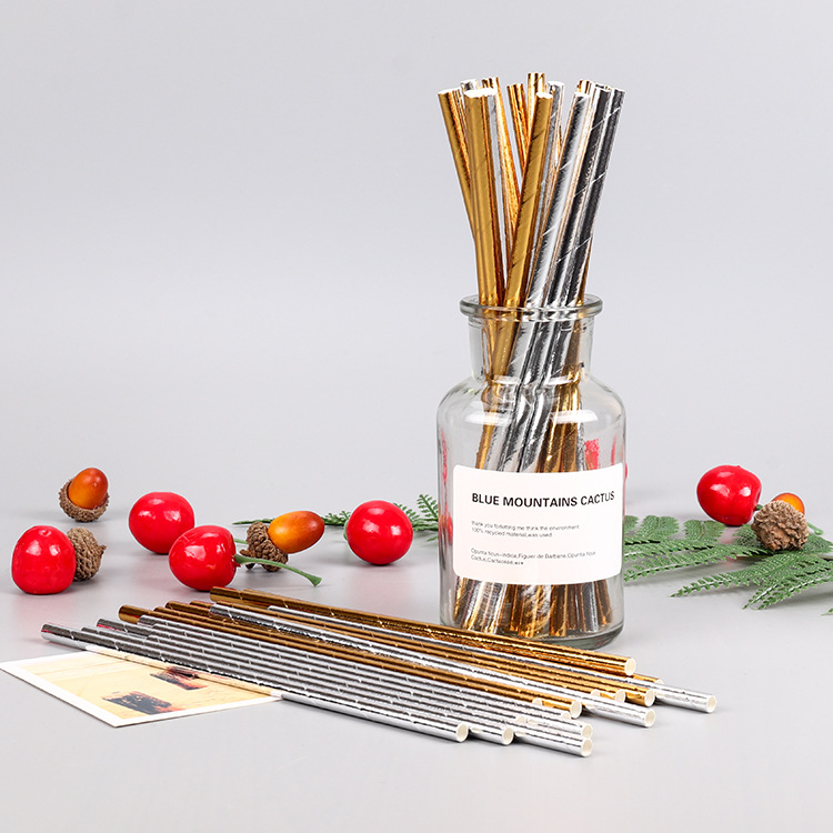 Industry Disposable Paper Straw Gold And Silver Solid Color Cocktail Decorations Paper Sucker