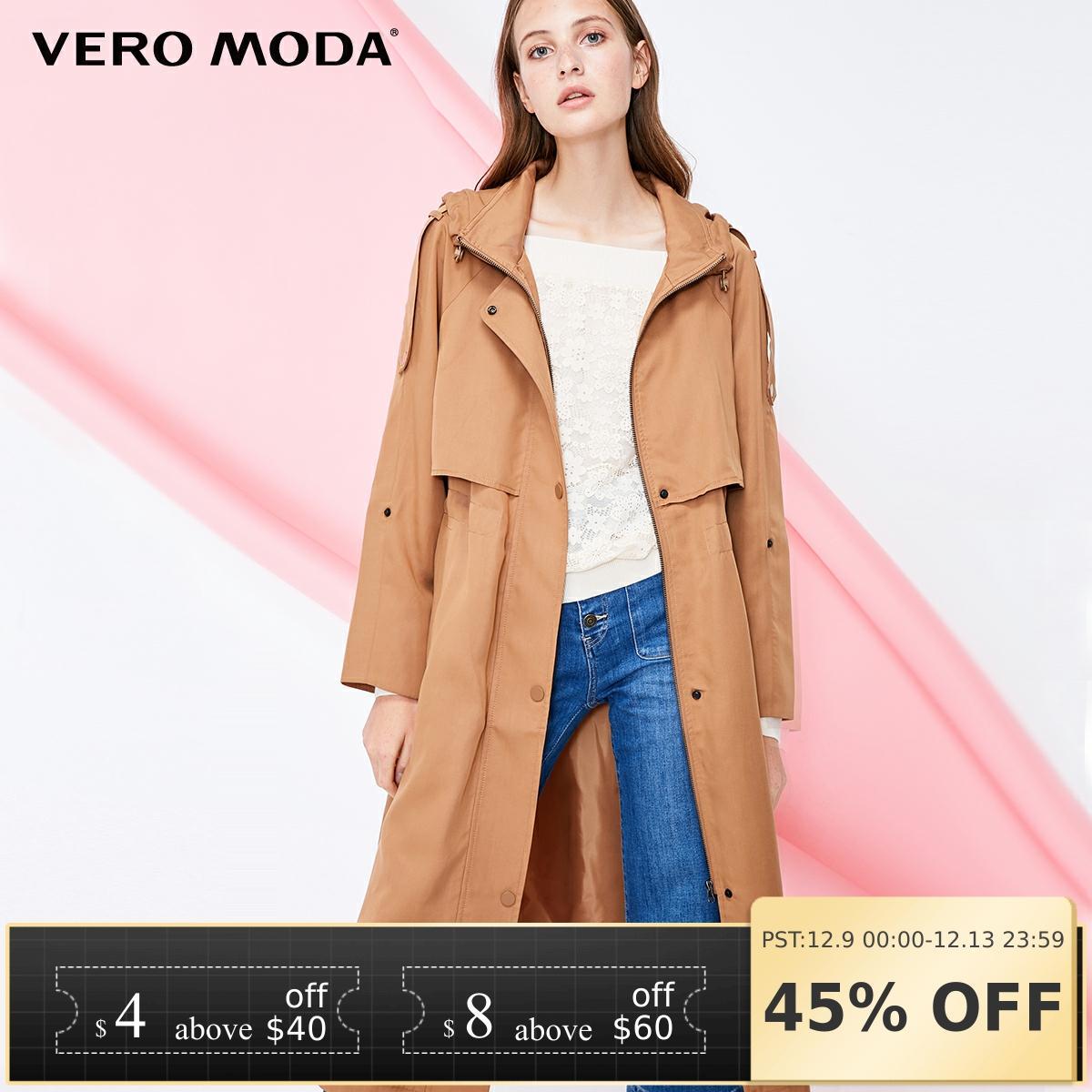 Vero Moda 2019 New Arrivals Adjustable Waist Long Hooded Wind Coat Trench Coat | 318321542