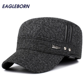 wuaumx genuine cow leather military hats for men fall winter men s cowskin hat with ear flap real cowhide flat top baseball caps EAGLEBORN Winter Hats Men Caps Hat with Earflaps Keep Warm Flat Roof Baseball Caps Old Men Thicken Snapback Russia Casquette