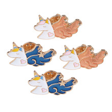4pcs Cartoon UNICORN Lapel Stick Brooch Pin for Prom, Party, Wedding Boutonniere(China)