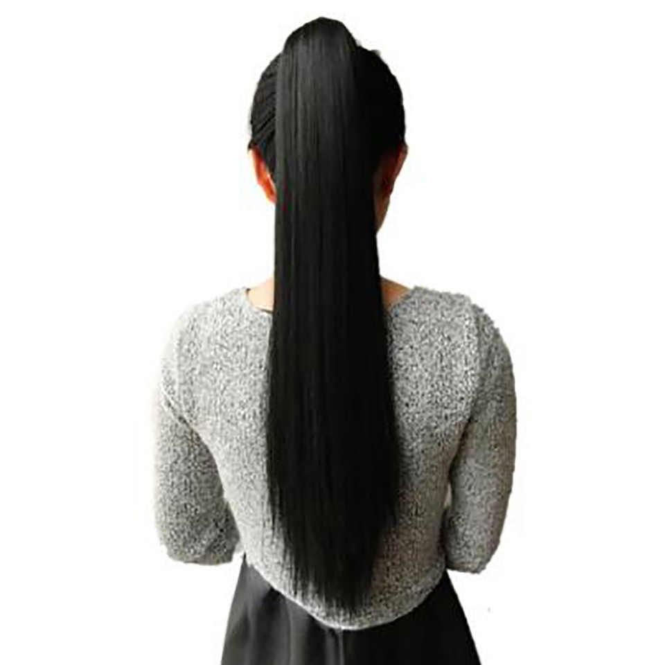 Meifan longa reta perucas de rabo de cavalo grampo no cabelo rabo de cavalo hairpins sintético resistente ao calor extensões falso hairpiecs