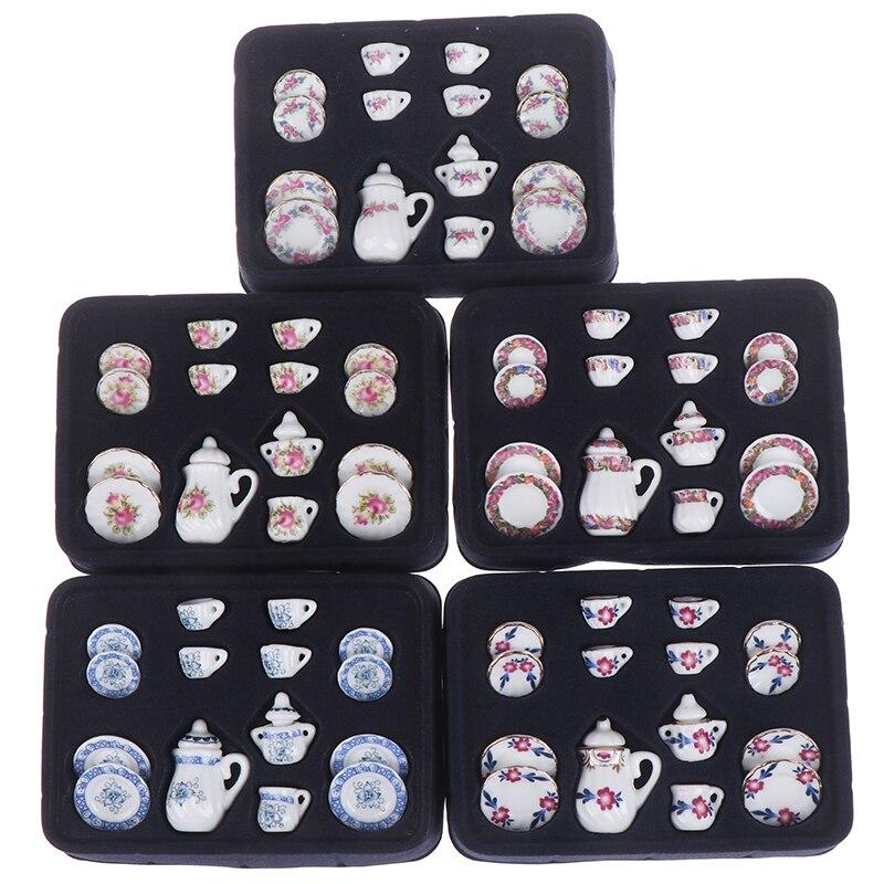 1:12 Miniature 15Pcs Porcelain Tea Cup Set Chintz Flower Tableware Kitchen Dollhouse Furniture Toys For Children
