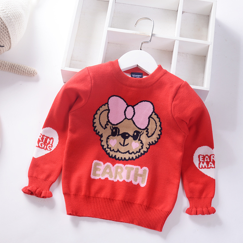 Children Double Layer Pullover Sweater 19 Autumn And Winter New Style Korean-style Girls Crew Neck Sweater CHILDREN'S Sweater