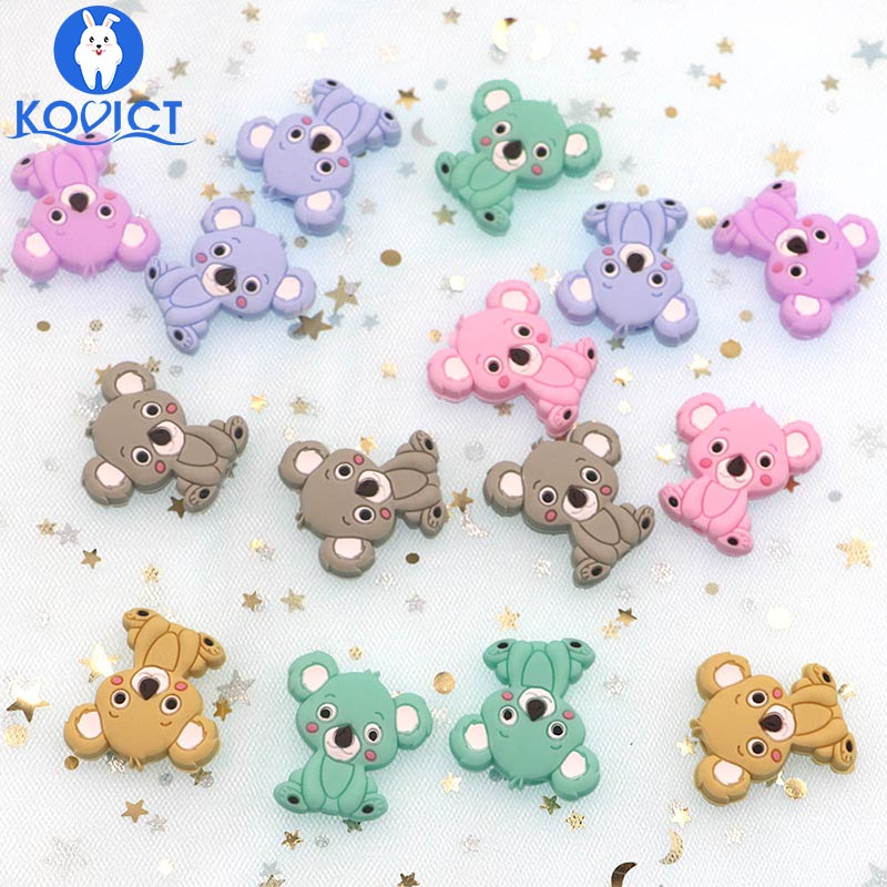 Kovict 5pcs Koala Silicone Beads Rodents Baby Teether Food Grade Silicone Pearls Pacifier Pendant Baby Products