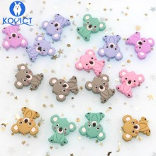 kovict 5pcs Koala Silicone Beads Rodents Baby Teether Food Grade Silicone Pearls