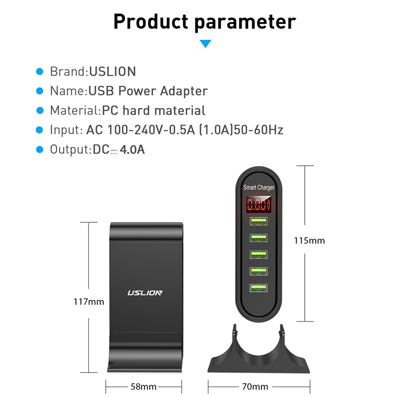 USLION 5 Port USB Charger with LED Display for Universal Phone 6