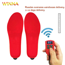 (Russian Warehouse)Velvet Heated Insoles Electric Pads Foot Warmers for Winter Hunting Fishing Hiking Camping Wireless Remote