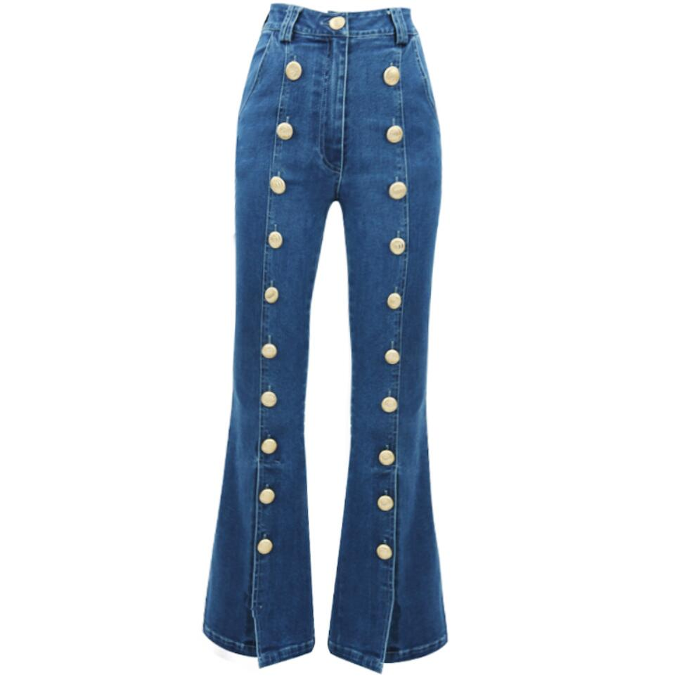 Flare Jeans Autumn Women's New High Waist Metal Breasted Wide-Leg Pants Slim Flared Trousers Women's Blue Jeans