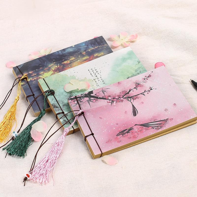 1 Pcs Vintage Notebook Retro Sketchbook Kraft Paper Bullet Journal Agenda Planner Book Chinese Styles Tassel Book Kids Gifts