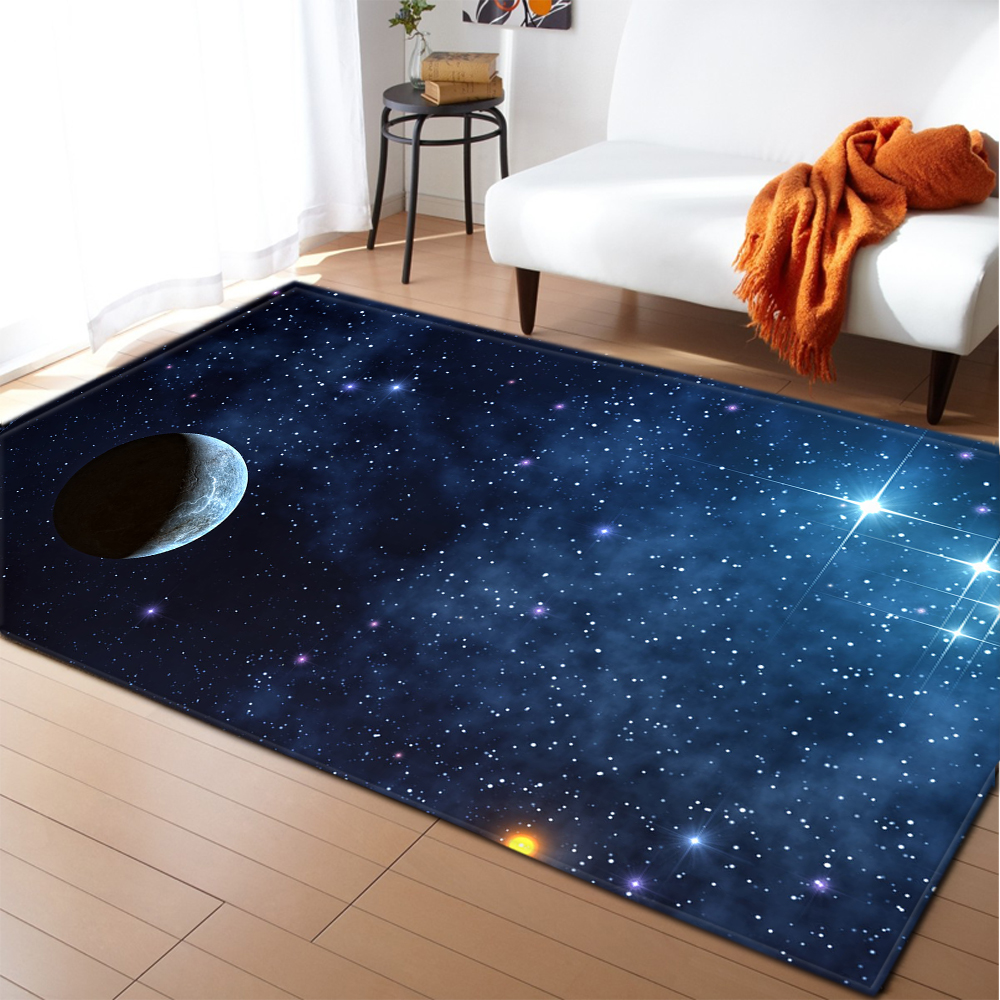 Nordic Universe Galaxy Carpet Living Room Decor Soft Memory Foam Kids Room Rug Carpet Bedroom Flannel Space Planet Area Rug