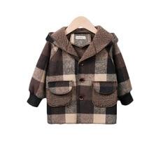 Coat Winter Jacket Children's Boy Plaid Hooded-Plus Woolen Fleece Warm