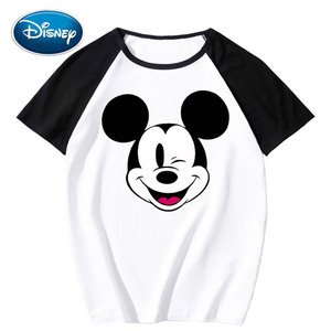 Disney Stylish Mickey Mouse Cartoon Print O-Neck Pullover Contrast Color Unisex T-Shirt Short Sleeve Tee Tops XS - 3XL 11 Colors